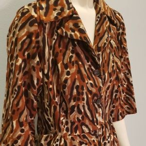 soft fleece vintage 1970's leopard robe dress L